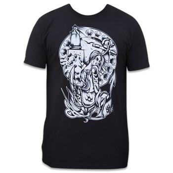 The Shore Always Waits by Chris Allen Men's Black Tattoo Tee Shirt Nautical Mermaid