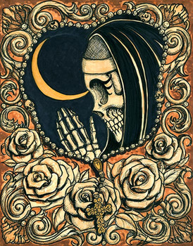 Rosary by Shayne of the Dead Bohner Tattoo Art Canvas Giclee Praying Nun Skull