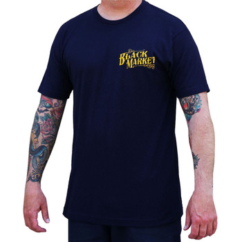 olden Cobra by Tim Hendricks Men's Navy Blue Tee Shirt Tattoo Art Snake