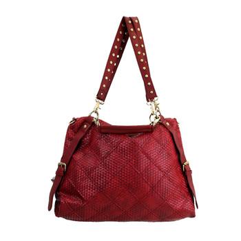 Large red shoulder bag.