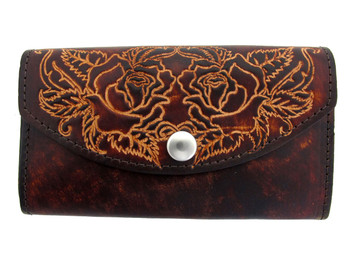 Brown leather wallet with embossed roses.