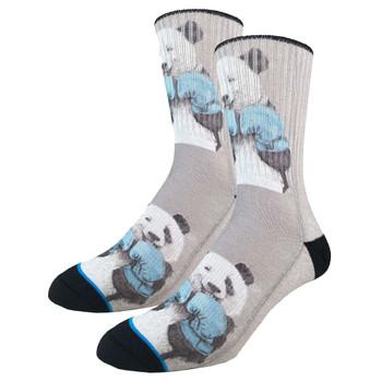 Men's Crew Socks Boxing Panda Bears Active Footwear