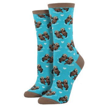 Women's Crew Socks Significant Otter Turquoise Blue
