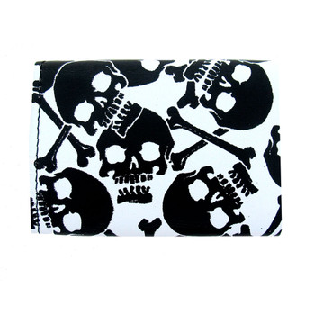 White leather wallet with black skulls and crossbones.