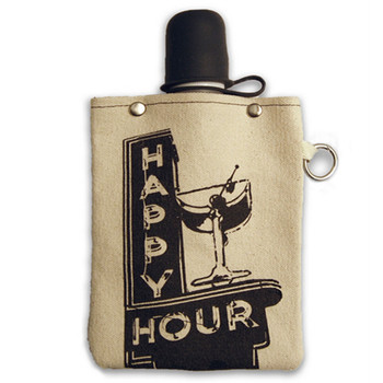 Happy Hour 8oz Canvas Canteen Flask Travel Beverage Container