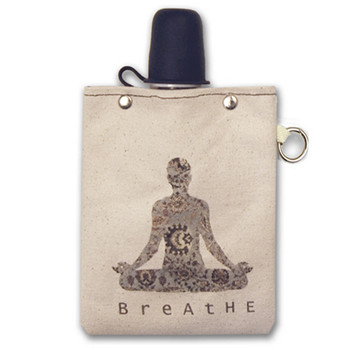 Breathe Namaste Zen Yoga Pose 8oz Canvas Canteen Flask Travel Beverage Container