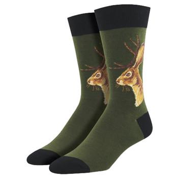Men's Crew Socks Jackalope Rabbit Olive Green