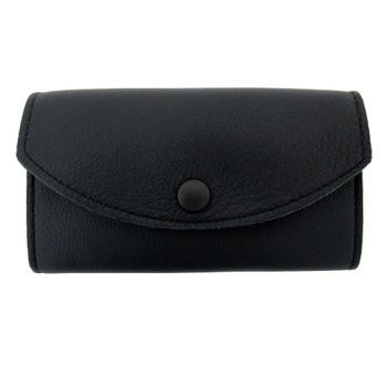 Women's black leather wallet.