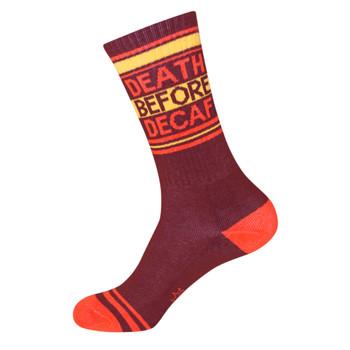 Women's or Men's Crew Socks Death Before Decaf