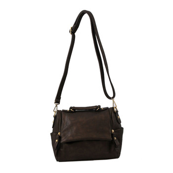Pewter Brown Faux Leather Crossbody Satchel Purse