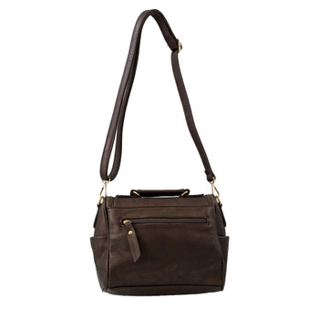 Backside of pewter brown faux leather crossbody satchel purse.