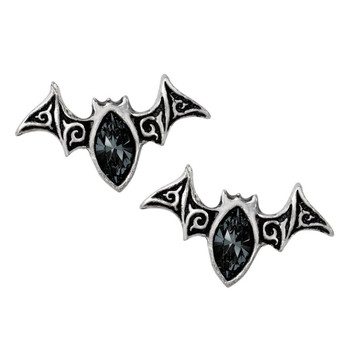 Alchemy Gothic Bat Viennese Nights Stud Earrings Pewter Jewelry E394