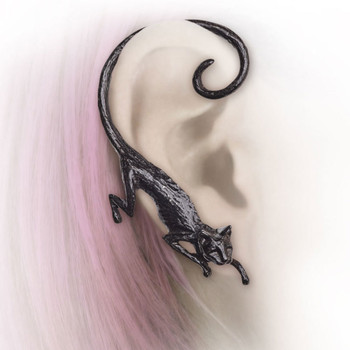 Alchemy Gothic Black Cat Sith Earwrap Earring Pewter Jewelry E404