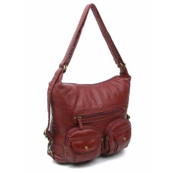 Convertible Crossbody Backpack Purse Burgundy Vegan Leather Shoulder Bag