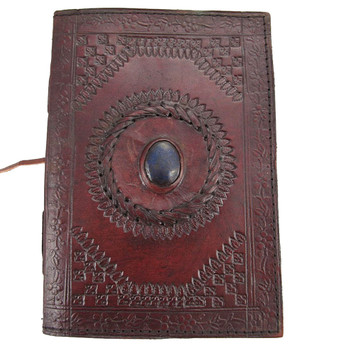 Blue Stone Eye Leather Journal Book Diary Notebook