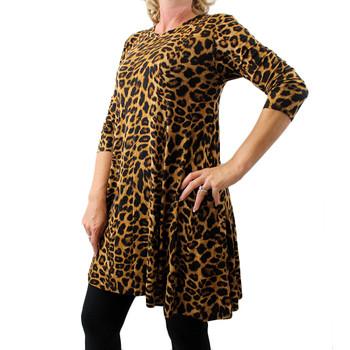 Women's Brown Leopard Print Long Sleeved Bohemian Tunic Top