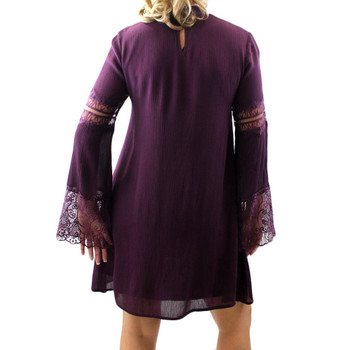 Women's Eggplant Purple Long Sleeved Bohemian Tunic or Dress with Embroidered Lace Detail
