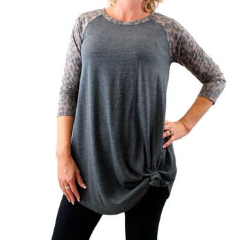 Women's Gray Brown Leopard Print Long Sleeved Raglan Tunic Top