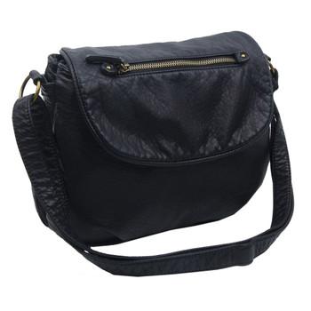 The Bonnie Saddle Crossbody Shoulder Bag Purse Black side view