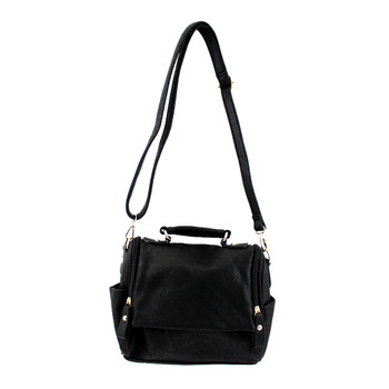 Black Faux Leather Crossbody Satchel Purse