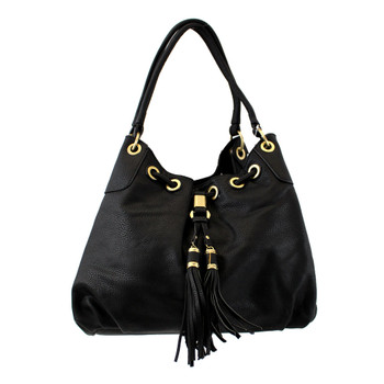 Black Purse with Gold Grommets