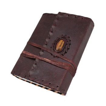 Tigers Eye Stone Leather Journal Book Diary Notebook