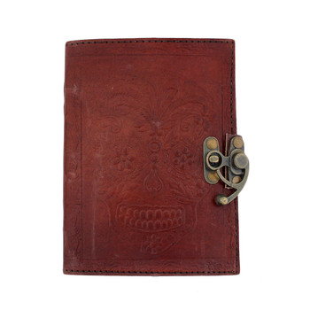 Brown Day of the Dead Leather Journal Book Diary Notebook