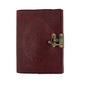 Brown Hamsa Leather Journal Book Diary Notebook