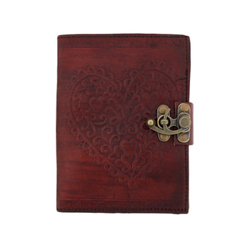 Brown Heart Embossed Leather Journal Book Diary Notebook