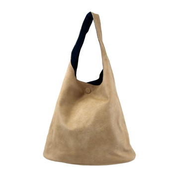 Reversible 2 in 1 Beige / Denim  Faux Leather Hobo Purse with Medium Shoulder Bag