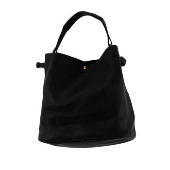 2 in 1 Black Faux Leather Bucket Hobo Purse with Medium Shoulder Bag