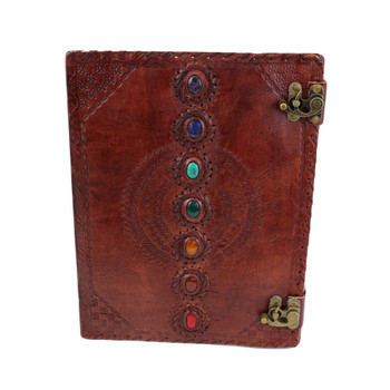 Seven Chakra Stone Embossed Leather Journal Book Diary Sketch Notebook front view.