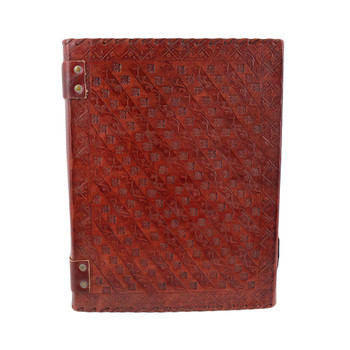 Seven Chakra Stone Embossed Leather Journal Book Diary Sketch Notebook backside view.