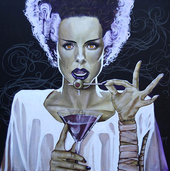 I Put A Spell On You by Mike Bell Canvas Giclee Tattoo Art Print Bride of Frankenstein