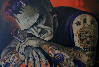 Heart Breaker by Mike Bell Canvas Giclee Tattoo Art Print Frankenstein Monster
