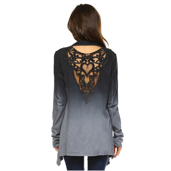 Back view of women's long sleeve jacket.