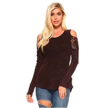 Women's Thermal Mineral Washed Long Sleeve Shirt with Crochet Lace Detail