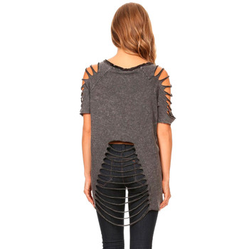 Navy Gray Women's Waffle Contrast Asymmetrical Short Sleeve Shirt with Cold Shoulder Detail