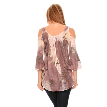 Backside women's abstract floral print 3/4 sleeve shirt with cold shoulder.