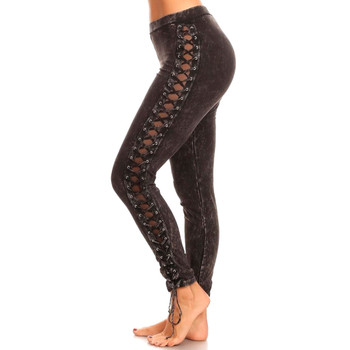 T-Party Black Mineral Wash Lace Up Leggings