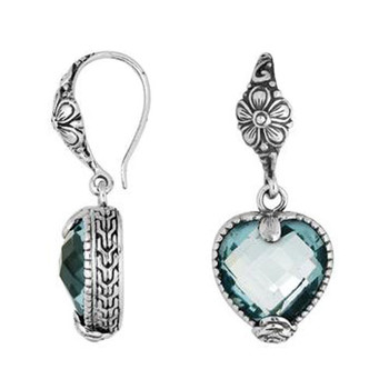 Blue Topaz Sterling Silver Heart Shape Dangle Earrings