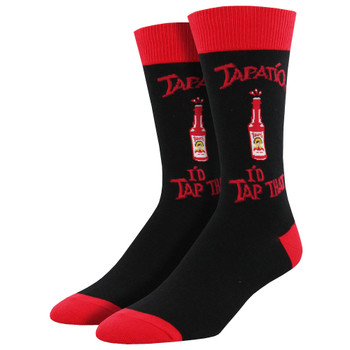 Socksmith Men's Crew Socks Tapatio I'd Tap That Hot Sauce Black