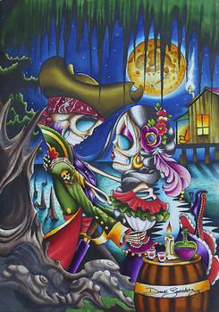 Pirates by Dave Sanchez Canvas Giclee Tattoo Art Print Sugar Skull