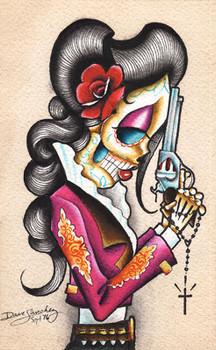 Desert Flower by Dave Sanchez Canvas Giclee Tattoo Art Print Sugar Skull