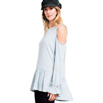 Women's Faded Blue Cold Shoulder Ruffled Knit Tunic Top