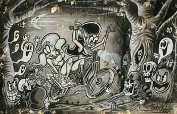 Bad Neighborhood by Shawn Dickinson Canvas Giclee Tattoo Art Print Spooky Cartoony Skulls