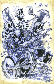 Bone Mobile by Shawn Dickinson Canvas Giclee Tattoo Art Print Hot Rod of Skeletons