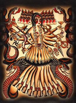 Brother Greg Kali Canvas Giclee Art Print Hindu Goddess Wall Hanging
