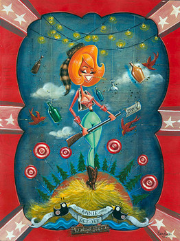 Annie Get Your Winchester by Candy Canvas Giclee Tattoo Art Print Rockabilly Pin Up Girl