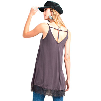 Women's Charcoal Relaxed Fit Tank Top Cami Tunic